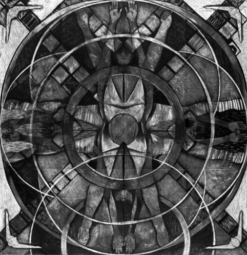 'North - South' . Heather Parnell . Charcoal on Paper . 240cm x 240cm